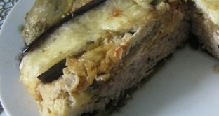 Eggplant casserole and minced meat